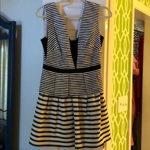 BCBGMAXAZRIA Black and White Striped Peplum Dress